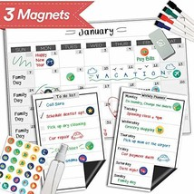 "Magnetic Dry Erase Refrigerator Calendar - 17"" x 11"" - Reusable Monthly ... - $20.46"