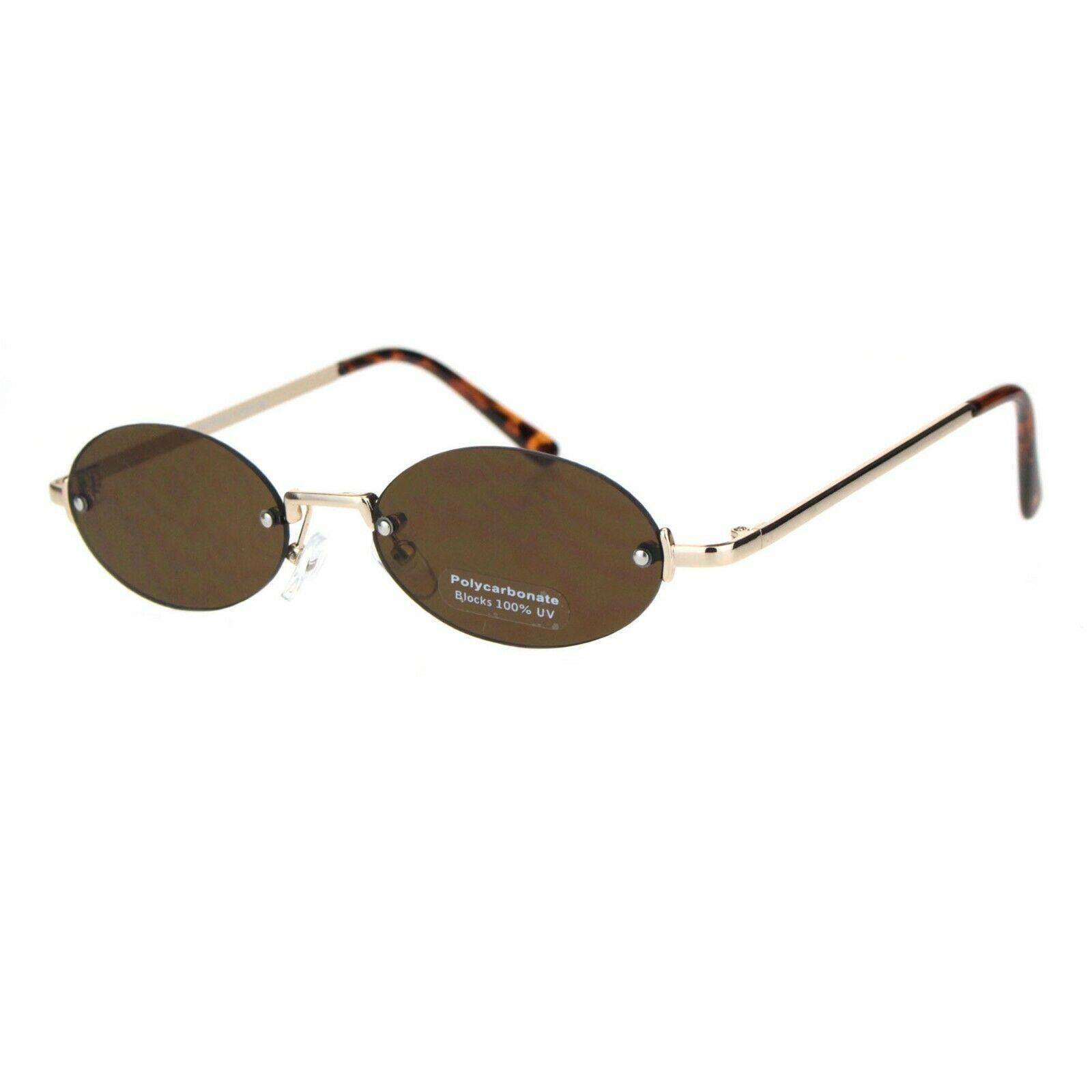 Rimless Oval Shape Sunglasses Unisex Trendy Fashion Metal Frame UV 400