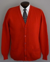Vintage 60s Red Wool Grandpa Cardigan Sweater Size Large to XL - $64.99