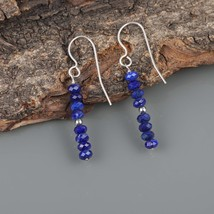 Faceted Lapis Lazuli 925 Sterling Silver Drop Dangle Earrings Gift for W... - $18.99