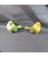 Vintage Pair Unusual Bird Pottery Figures, Nicely Painted and Colorful, ... - $9.49
