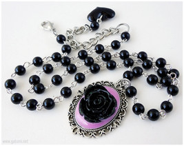 Black Rose Cameo Necklace, Beaded Black Chain, Pink Resin Border, Silver... - $24.00