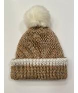 Handmade Knitted Soft Hat Beige w Multicolored Flecks, Contrast Stripe, ... - $14.85