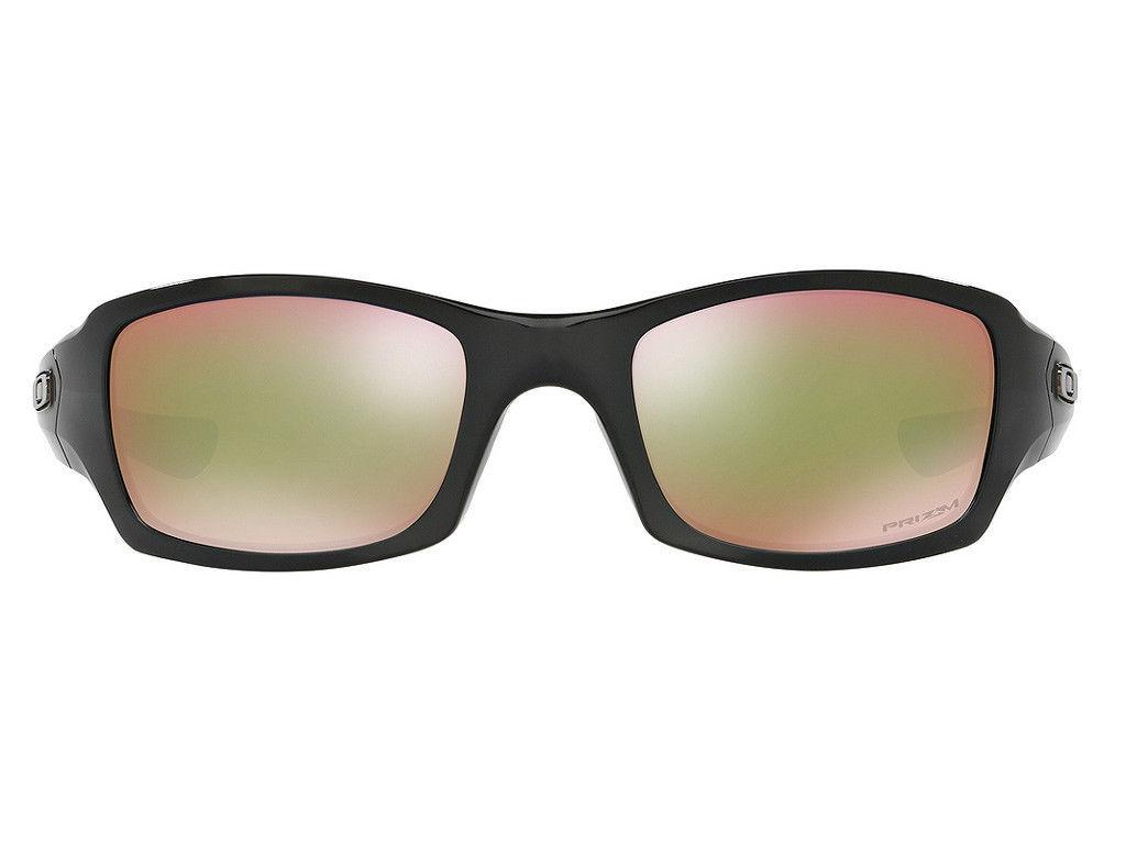 Nuovo Oakley Fives Squared Polished Black W/Prisma Shallow H2O Polarizzati