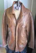 GAP Mens Distressed Brown Leather Peacoat Jacket Car Coat Size Medium - $139.32