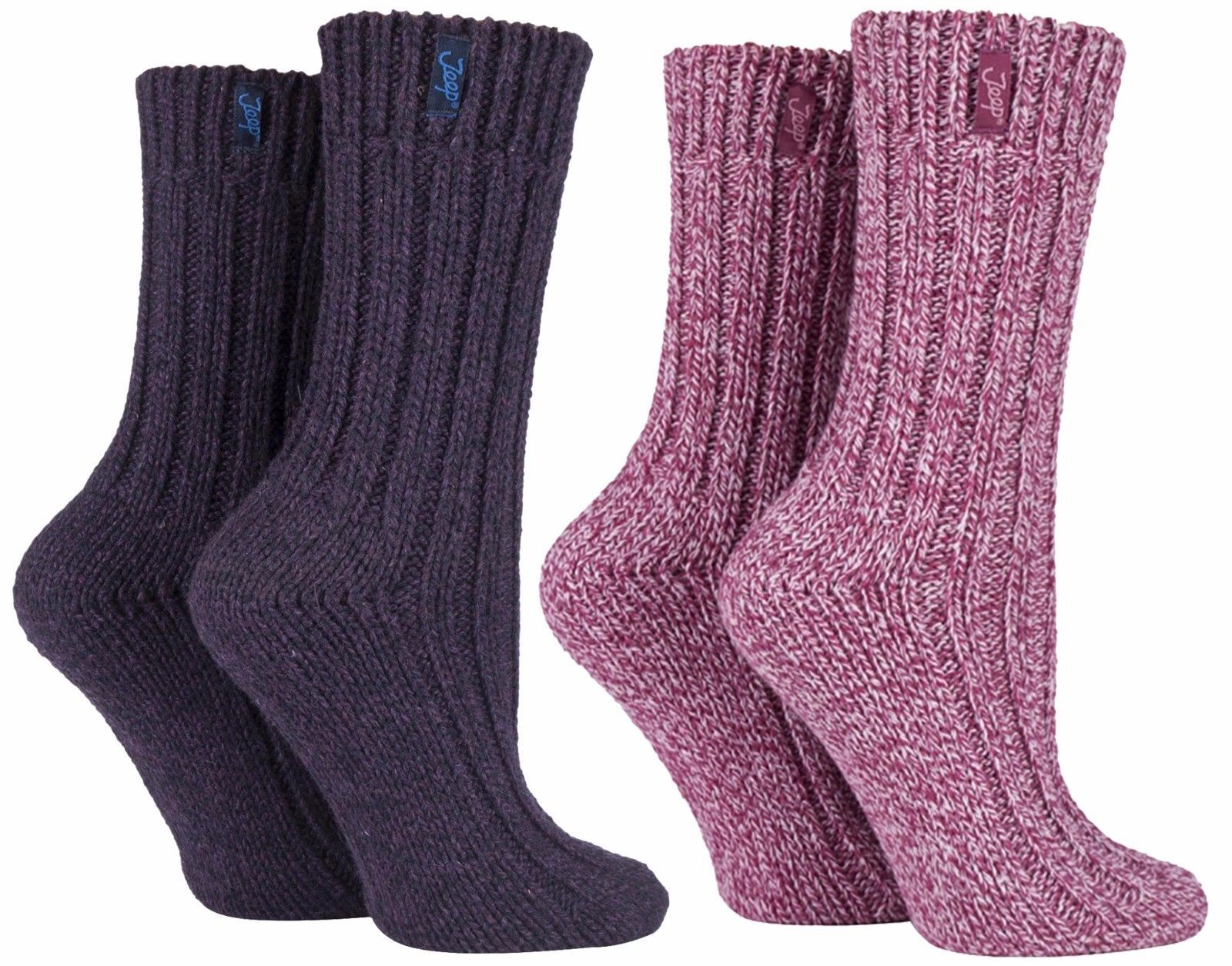 Primary image for Jeep - 2 Pack Womens Thick Pink or Purple Wool Blend Knit Hiking Boot Crew Socks