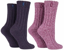 Jeep - 2 Pack Womens Thick Pink or Purple Wool Blend Knit Hiking Boot Cr... - £10.02 GBP