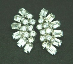 Clear Rhinestone Crescent Art Deco Style Silver Tone Clip Earrings Vinta... - $24.74