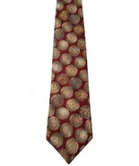 Chaps Ralph Lauren All Silk Brown Red Balls Geometric Print Men's Neck Tie - $17.81