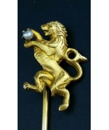 Antique LION PASSANT 10K Solid Yellow Gold Seed Pearl Figural Stick Pin - $262.35