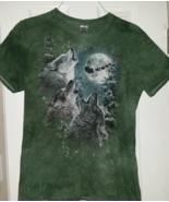 Wolf Howling Green T Shirt Unisex Size Medium  - $14.99
