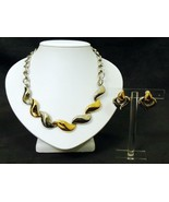 Bicolor Necklace Earrings Set Signed - $24.50