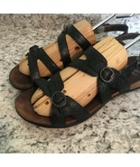 DANSKO Womens Black Leather DOUBLE BUCKLE STAMPED Strappy Sandals 40 / 9... - $39.55