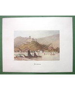 GERMANY Stolzenfels on Rhine River - COLOR Fine Quality Lithograph Print - $26.01