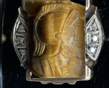 10K SOLID Yellow Gold TIGERS EYE WITH DIAMONDS SIZE 10 Centurion Knight AMAZING!