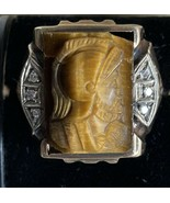 10K SOLID Yellow Gold TIGERS EYE WITH DIAMONDS SIZE 10 Centurion Knight ... - $379.99