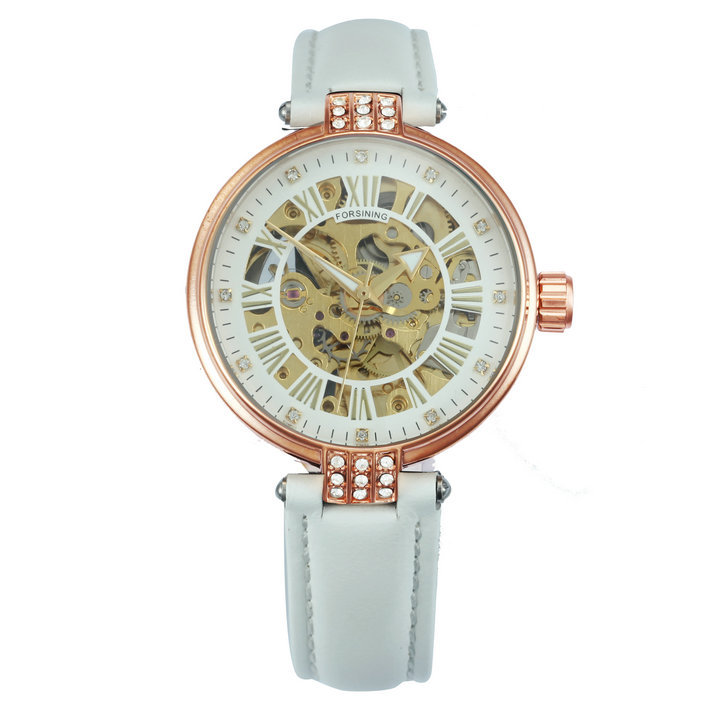 FORSINING Vintage Elegant Women Watch Automatic Mechanical Red Leather Strap Gol image 2