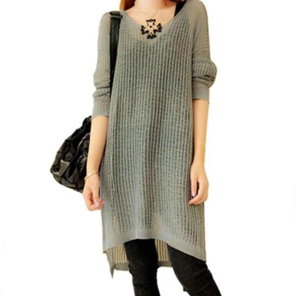 Or less sweater dress one size gray loose knitted asymmetrical women sweater dress 1403246051359
