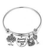 ENSIANTH Birthday Gift for Her Adjustable Birthday Bracelet Bangle with ... - $14.37
