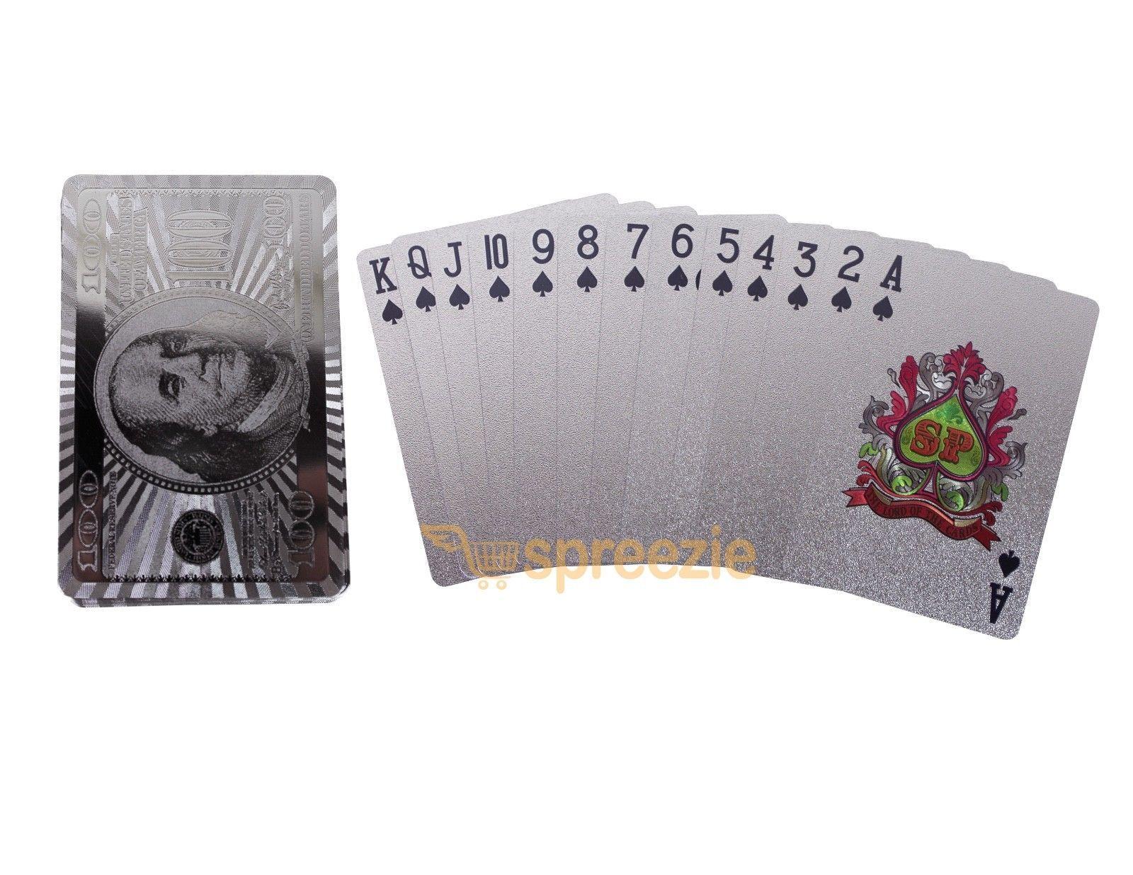 $100 Bill Gold Playing Cards 24k Foil Plated Full Deck Poker Benjamin Franklin 3