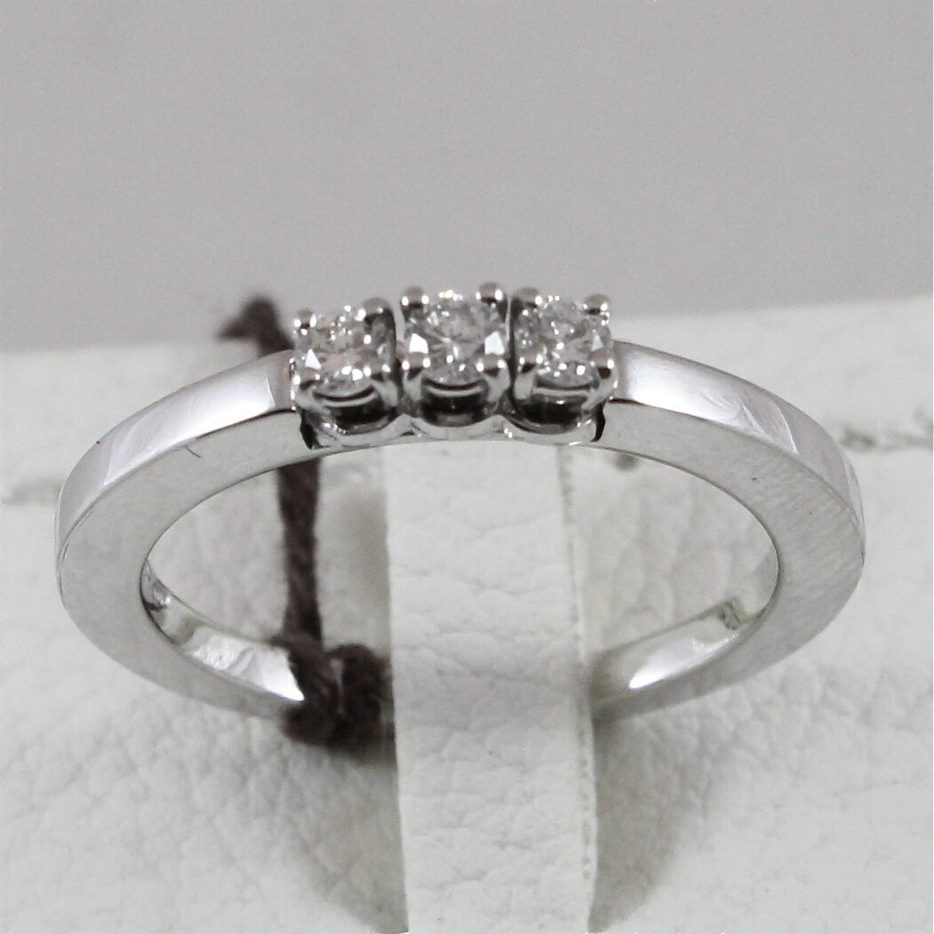 18K 750 WHITE GOLD TRILOGY RING WITH DIAMONDS, MADE IN ITALY