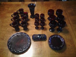 Avon 30 Dish Set Cape Cod Ruby Red Plates Coffee Mugs Wine Glasses and more - $178.20