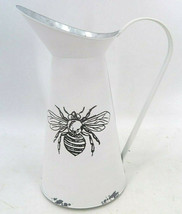 """Honey Bee Metal Pitcher / Vase 10.5"""" H - White with Large Handle Antique Look"""