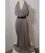 Robert Rodriguez Taupe Deep V-Cut Halter Maxi Dress Model Length NWOT 4 ... - $359.99