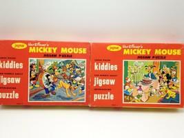 Jaymar Kiddies Mickey Mouse Jigsaw Puzzles Lot 2 USA Circus Birthday Com... - $39.74