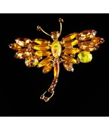 Vintage Colorful Stunning BUTTERFLY Pin - speckled egg stones - unusual Yellow O - $195.00