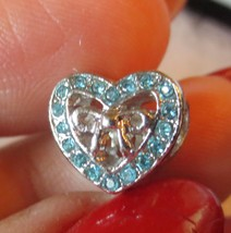 Silver Open Heart Rhinestones European Charm Bead with Pandora bag - $15.00