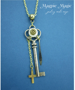 Charmed Key Necklace: silver & gold, vintage mother-of-pearl button, cro... - $12.00