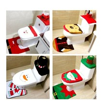 New Tronzo Toilet Christmas Seat Cover and Rug Bathroom Santa Snowman De... - ₨1,644.27 INR