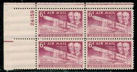 1949 6c Wright Brothers Plate Block of 4 US Postage Stamps Catalog C45 MNH