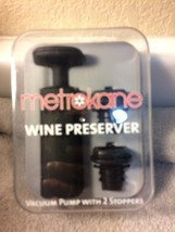METROKANE WINE PRESERVER VACUUM PUMP / 2 STOPPERS----FREE SHIP--NEW - $14.49