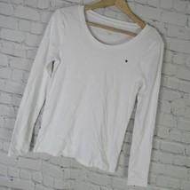 Tommy Hilfiger T-Shirt Femmes XS BLANC Manches Longues Col Rond - $35.30