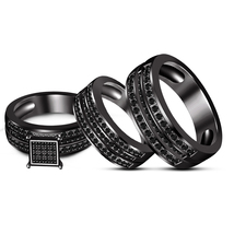 Men's & Ladies Black GP Engagement Trio Ring Set Solid 925 Silver Free Shipping - $141.86