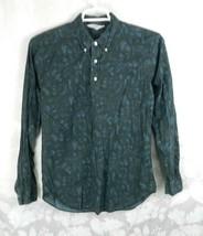 Vintage Fleetline Button Down Shirt Size M Dark Blue Green Leaf Pattern - $19.79