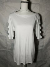 Karen Scott Womens Cotton Top Cutout-Sleeve size Large Bright White Boat... - $20.57