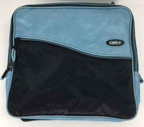 "Primary image for Case it Blue & Black 1-1/2"" Rings Zipper Binder Case Book Bag Computer Handle"