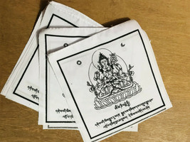 Chenrezig Printed Tibetan Prayer Flag, All White Chenrezig Cotton Prayer... - $5.84