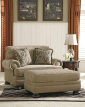 Ashley Keereel Sand Fabric Upholstered Oversized Chair And Ottoman Set