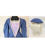Medieval Renaissance Blue Dress and Hat Women Costume size M Quality OOA... - $34.95