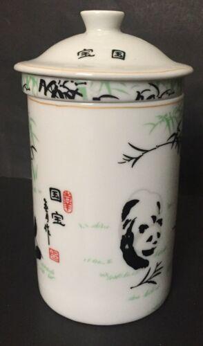 Panda Bear Tea Infuser Mug Tall Cup Leaf Strainer Lid White Black Green image 2