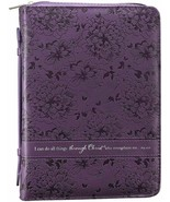 Bible Cover Brand NEW L Purple I Can Do All Things Phil. 4:13 95/8x 67/8... - $26.53