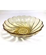 Vintage Hazel Atlas Optic Colonial Swirl Seashell Amber Yellow Gold Frui... - $7.83