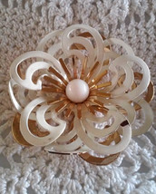Vintage Signed Emmons White Enamel Layered Petals Gold Tone Flower Pin B... - $5.70