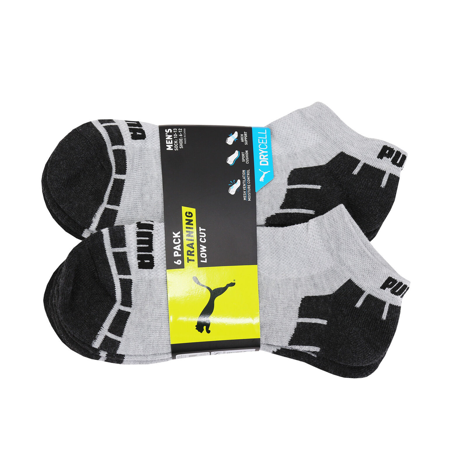 Puma Men's 6 Pack Athletic Gym Low Cut Moisture Control Cushioned Gray Socks