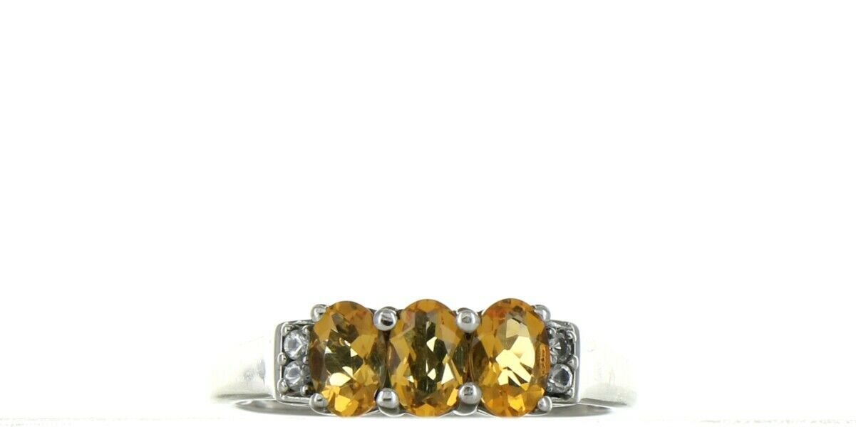 Vintage Ladies Size 9.25 Sterling Silver Citrine 3 Stone Fashion Ring No. 2125