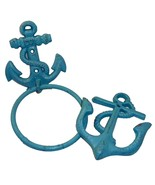 Caribbean Blue Small Anchor Cast Iron Towel Ring & Double Wall Hook Set ... - $26.24